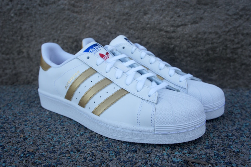 Adidas Superstar Original Fashion Sneaker, White/Pink