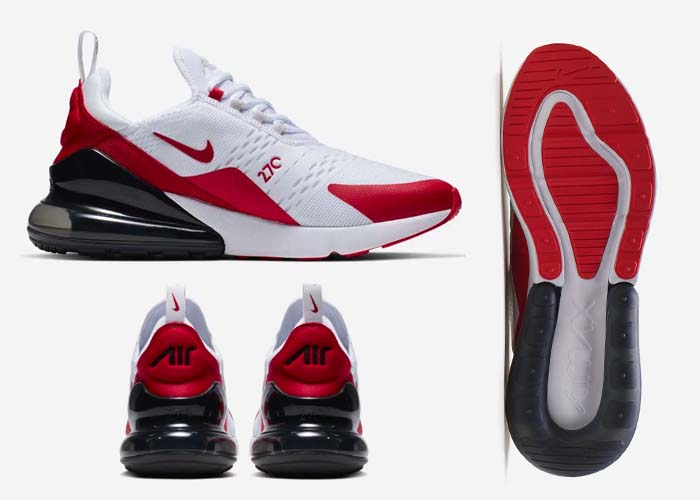 Now Available Nike Air Max 270 White University Red Gray Soleracks