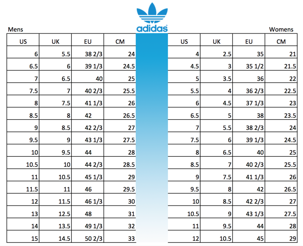 Adidas shoes size conversion chart soleracks adidas shoe size conversion mens womens geenschuldenfo Choice Image