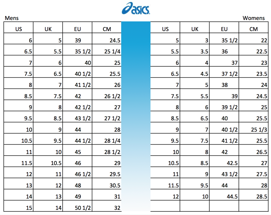 Abuso Librería habilidad  ASICS Shoes Size Chart - Men's & Women's - Soleracks