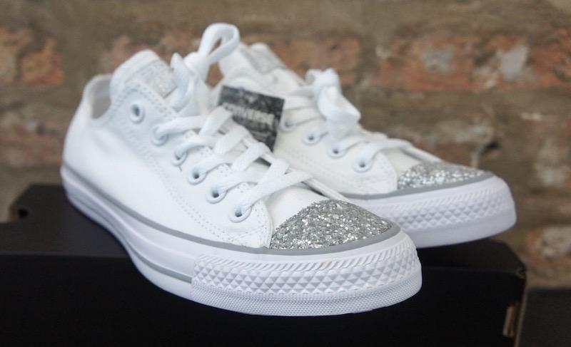 Converse Chuck Taylor Glitter Toe Box White - Soleracks a7541a1da