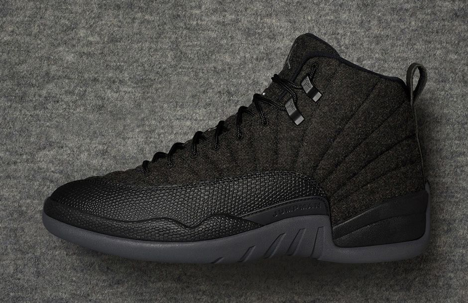 timeless design 8c66c 4d094 Nike Air Jordan 12 XII Retro Black Grey Wool Men Basketball Shoes 852627-003