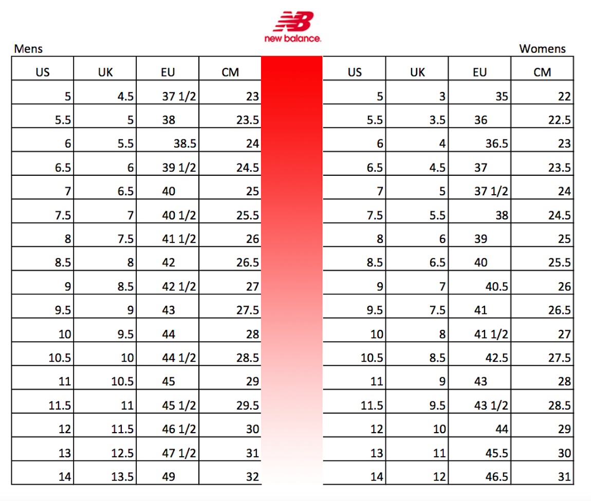 new balance and nike sizing charts