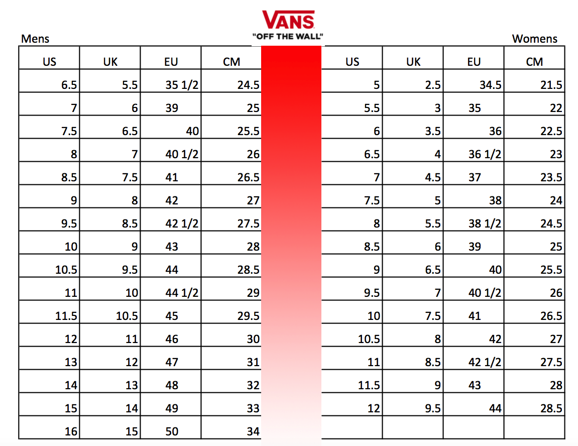 Vans Unisex Shoes Size Chart