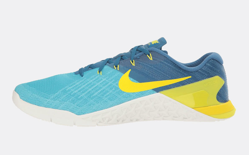 Nike Metcon 3 review side main blue yellow