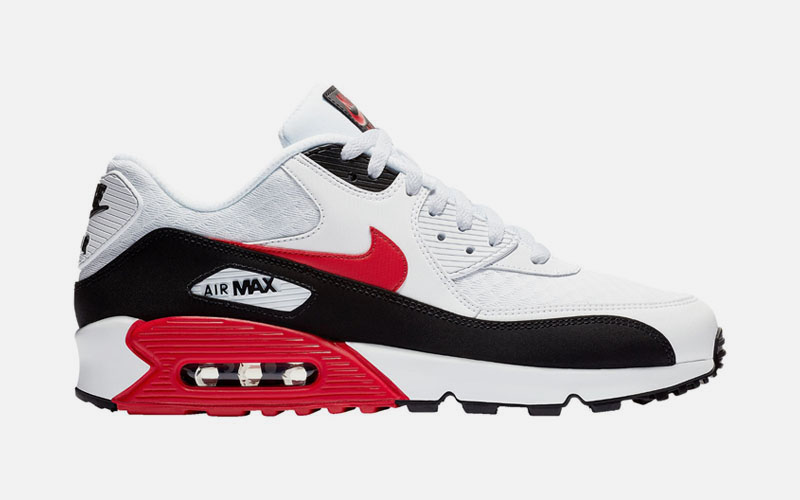 791d6c0d4b70 Now Available - Nike Air Max 90 White University Red Black - Soleracks