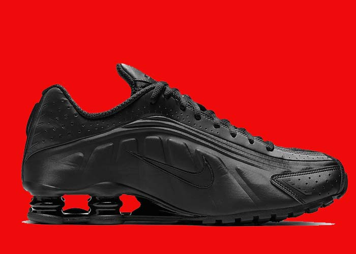 7f94b4ab0955c Nike Shox R4 Triple Black Restock - Soleracks