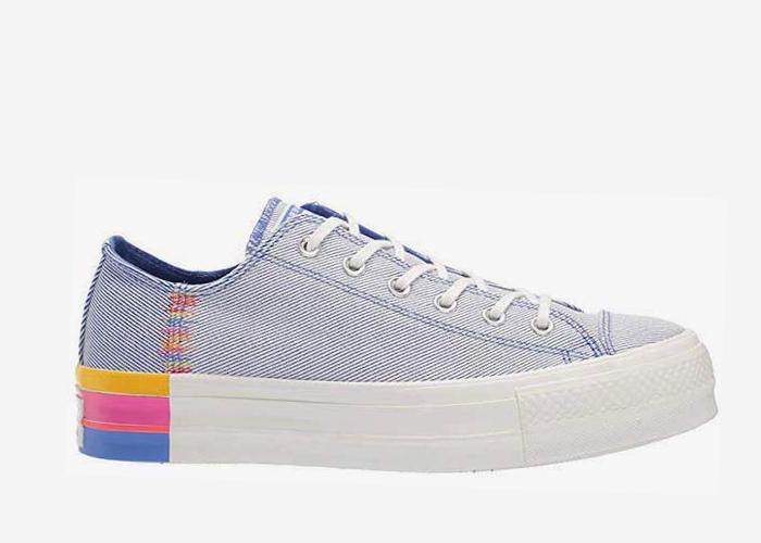 Converse All Star Platform denim rainbow