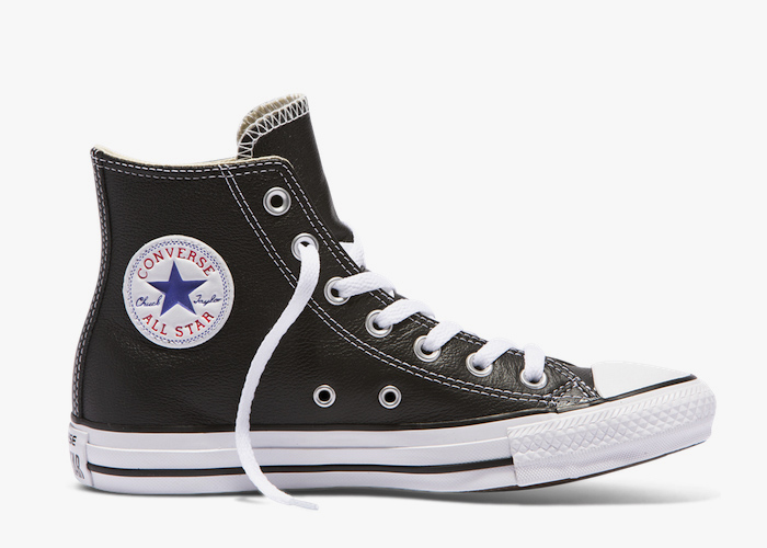 Converse Leather Hi Top black white