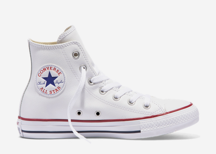 Converse Leather Hi Top white red blue