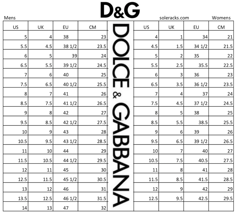 DOLCE GABBANA size chart shoes sneakers