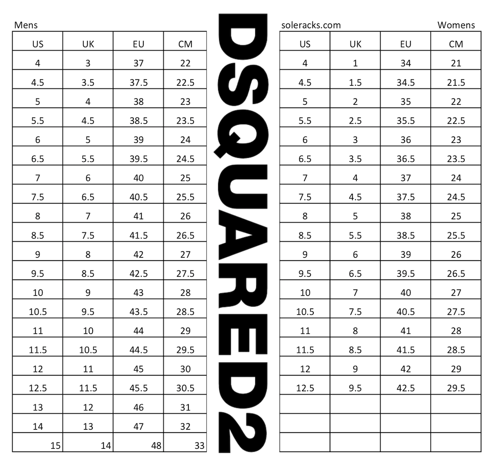 Dsquared2 Size Chart Shoes Sneakers Mens Womens