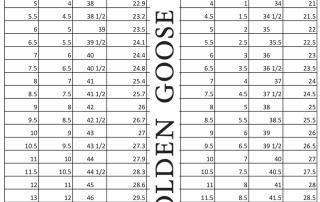 Golden Goose Size Chart mens women sneakers shoes