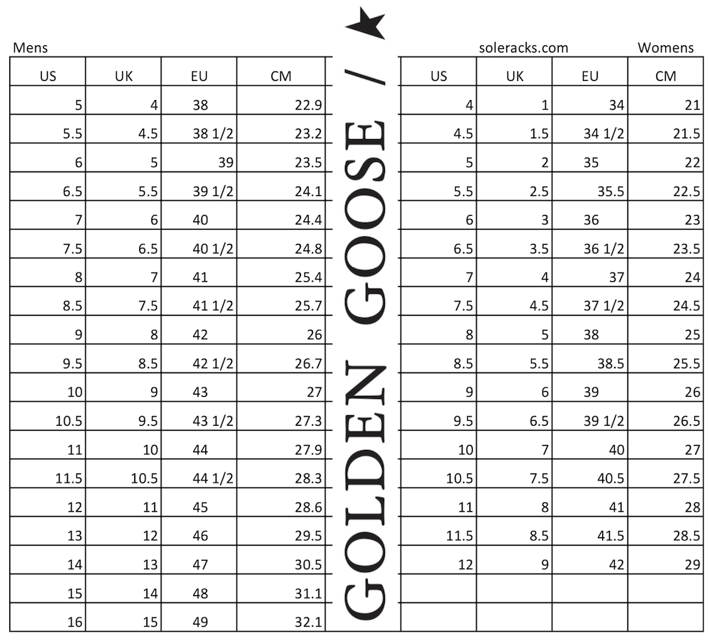 Golden Goose Size Chart mens women sneakers shoes