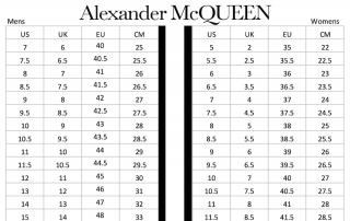 alexander McQueen Shoes Size Chart menswomen