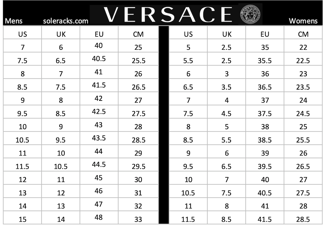 versace shoes size chart men women 1