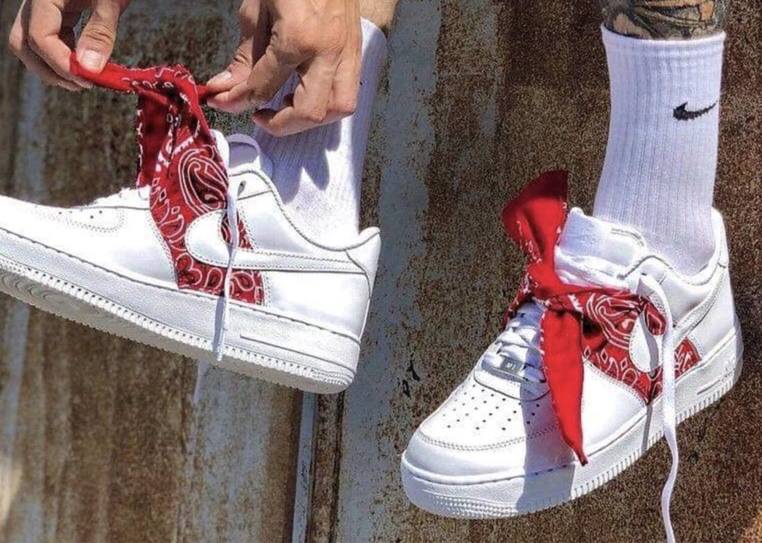 Custom Nike Air Force 1 Bandana red